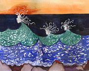 Santa Cruz Watercolor Artists Tapestries - Textiles Prints - Wave Fairies Print by Alexandra  Sanders