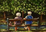 Elderly People Paintings - We Need To Talk by Dyanne Parker