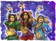 Belly Dance Paintings - We Three by Rebecca Shupp