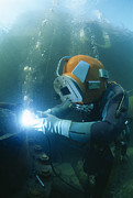 Mending Metal Prints - Welding Underwater Metal Print by Alexis Rosenfeld
