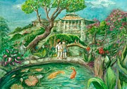 Japanese Tea Garden Paintings - Were in Wonderland by Lynn Maverick Denzer