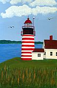 Lighthouse Art Art - West Quoddy Head Lighthouse by Frederic Kohli