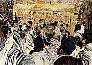 Jerusalem Painting Metal Prints - Western Wall Synagogue Metal Print by Abraham Zimmermann