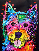 Graffiti Framed Prints - Westie Framed Print by Dean Russo