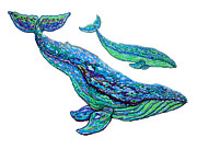 Whale Drawings Metal Prints - Whales Metal Print by Nick Gustafson