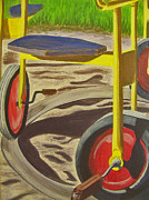 Playground Digital Art Originals - Wheelie Go Round by Charlene Cloutier