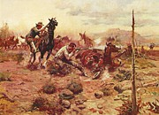 Old West Prints - When Horseflesh Comes High Print by Pg Reproductions