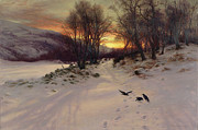Snowy Field Prints - When the West with Evening Glows Print by Joseph Farquharson