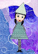 Kpappert Posters - Whimsical Green Girl Mixed Media Collage Poster by Karen Pappert