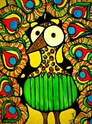 Leopard Print Paintings - Whimsical Peacock by Amy Carruth-Drum