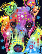 Animal Mixed Media Posters - Whippet Poster by Dean Russo