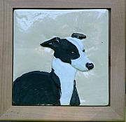 Portraits Ceramics - Whippet in relief by Phillip Dimor