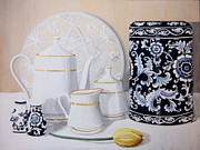 Teapot Paintings - White and Blue by Amanda Hooser