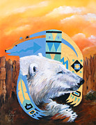 Indigenous Prints - White Bear goes Southwest Print by J W Baker