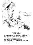 Spoon Drawings Prints - White Cake Print by Gail Schmiedlin