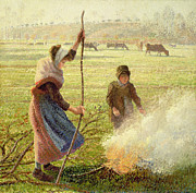 Flame Paintings - White Frost by Camille Pissarro