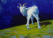 Goat Paintings - White Goat Painting by Mike Jory