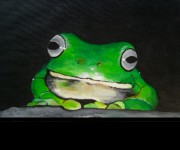 Frog Paintings - White Lipped Green Tree Frog by Una  Miller
