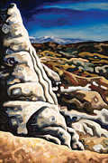 Badlands Painting Originals - White pillar by Dale Beckman