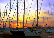 Docked Sailboats Posters - White Rocks Marina Sunset Poster by Brian Wallace