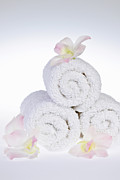 Towels Prints - White spa Print by Elena Elisseeva