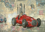 Racer Painting Framed Prints - Whiteheads Ferrari passing the pavillion - Jersey Framed Print by Peter Miller