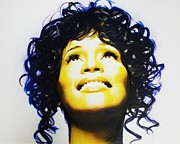 Gospel Pastels Framed Prints - Whitney Houston Framed Print by Mandy Thomas