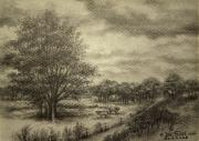 Grey Clouds Drawings Posters - Wickliffe Landscape  Poster by Debi Frueh