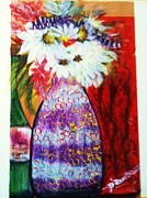 Vases Mixed Media Posters - Wild Flowers In A Vase Poster by Sandra Richardson