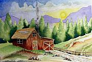 Cabin Drawings - Wilderness Cabin by Jimmy Smith
