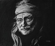 Willie Drawings - Willie Nelson by Steve Hunter