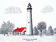 Lighthouse Drawings - Wind Point Lighthouse by Frederic Kohli