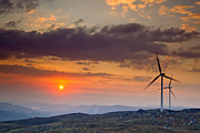 Efficiency Metal Prints - Wind Turbines at Sunset Metal Print by Andre Goncalves