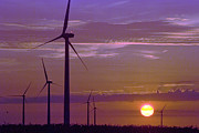 Sun Photographs Photos - Wind turbines at sunset by Jim Wright