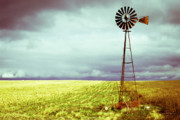 Storm Metal Prints - Windmill Against Autumn Sky Metal Print by Gordon Wood