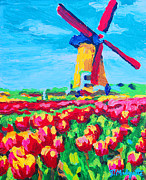Netherlands Paintings - Windmill and Tulips by Tommy Midyette