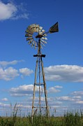 Bluesky Posters - Windmill in a Pasture Poster by Robert D  Brozek