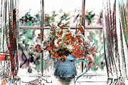 Curtains Mixed Media Posters - Window View Poster by Elaine Manley