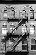 Windows And Fire Escapes Bangor Maine Architecture Print by John Van Decker