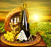 Grape Vineyard Posters - Wine and cheese romantic dinner outdoor Poster by Anna Omelchenko