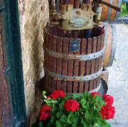 Geraniums Posters - Wine and Geraniums Poster by Debbi Granruth