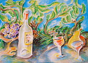 Wine Country Card Paintings - Wine and grapes by Joan Landry