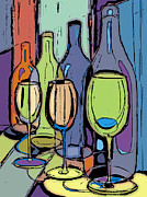 Wine Glasses Mixed Media Prints - Wine Bottles and Glasses III Print by Peggy Wilson