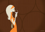Pour Digital Art Posters - Winery Orange Poster by Martin Laksman