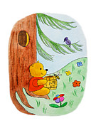 Kids Room Posters - Winnie The Pooh and His Lunch Poster by Irina Sztukowski