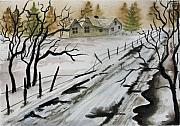 Winter Farmhouse Print by Jimmy Smith