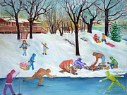 Fun Pastels Posters - Winter Fun Poster by LaReine McIlrath