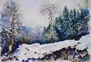 Russia Paintings - Winter in Dombay by Zaira Dzhaubaeva
