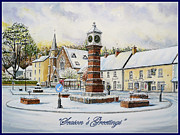 Town Clock Tower Framed Prints - Winter In Twyn Square Framed Print by Andrew Read