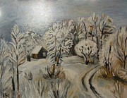 Oil On Cardboard Prints - Winter Landscape Print by Sanja  Prsic